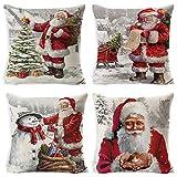 UMIPUBO 4pcs Taie d'oreiller de Noël Lin de Coton Housses de Coussin Dessin Animé Mignon Décoration de Noël d'oreiller 45x45cm pour Les Voitures Les Canapés