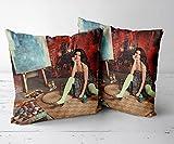 ZMXAWXJ Taie d'oreiller Housse de Coussin Canapé-Ensemble 2 pièces-18 x18-Convient pour : chaises, canapés, Lits, Voitures, bureauxJacqueline Fernandez 13