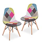 Mc Haus SENA Patchwork - Lot de 2 chaises de salle à manger tapissé de tissu patchwork rose salon cuisine chaises rétro avec pieds en bois style eiffel 49x46x84cm