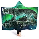 XCNGG Couverture à capuche Couverture de climatisation à capuche Wolf Moon Northern Lights Hoodie Wearable Blanket Flannel Surper Soft Sofa Blanket Windproof Hooded Throw Wrap Shawl Thermal Hooded Coa