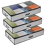 GoMaihe Sac de Rangement Vetement Lot de 3, Rangement sous Lit Grande Non-Tisse Sac Boite Tissu Poignee pour Couette Vetements Edredons Couvertures Oreillers Jouets (50x 100 x 15 cm), Gris