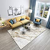 Qutdoor-QJ Tapis Chambre Salon séjour Décoration d'intérieur Marbre doré Blanc Canapé Table Basse Table Chambre Lavable Antidérapant Rug 200×300CM (6ft7 x 9ft10)