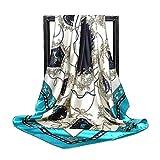 Foulard en soie pour femme - Grand carré Satin 90 cm - - 89 cm