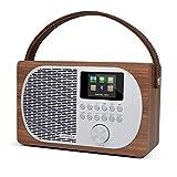 LEMEGA M2P Radio Internet,Radio numérique Dab/Dab+/FM,Bluetooth,Radio Dab Portable,Sortie Casque,Alarme-réveil,Batterie Rechargeable ou Alimentation Secteur,écran Couleur. - Finition Chêne Noyer.