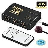 Switch HDMI, GANA HDMI Switch Commutateur HDMI 3 vers 1 Sélecteur HDMI 4K/1080p 3D Adaptateur HDMI Splitter avec Télécommande pour Xbox/PS3/PS4/Apple TV/Roku/Fire TV/Lecteur DVD Blu-Ray 3 in 1 Out