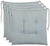 Coussin d'assise Brandsseller à carreaux - Anthracite, gris clair, marron, beige - 40 x 40 cm - Pour le jardin, Coton mélangé, gris, 4er-Paket