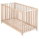 roba Lit pliant 'Fold Up', bois naturel, 60x120cm, lit bébé à barreaux en hêtre naturel, réglable sur 3 hauteurs, lit enfant avec roulettes.