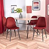 Furnish 1 Lot de 4 Chaises Scandinave Fauteuil Industriel Velours Rouge Pied Métal Salle à Manger Cuisine Salon Bureau Chambre Travail à Distance Chaise de Bureau