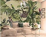 Rétro Tropical Rain Forest Animaux Feuille De Palmier Papier Peint Décor Intérieur Salon Lit Tête Fond Mur 3D Papier Peint, Taille: Environ 400X280 Cm