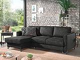 Lisa Design - Zack - canapé d'angle Convertible - avec Coffre - Style Industriel - 4 Places - Gauche
