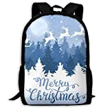 XCNGG Sac à dos d'impression plein cadre adulte Sac à dos décontracté Sac à dos Cartable Christmassanta Claus On A Sled Large Capacity Travel Computer Backpack, Adult Printed Backpack, Anti Splash Stu