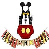 MYRISAM Déguisement de Mickey pour 1er Anniversaire Bébé Cake Smash Photo Prop Carnaval Halloween Costume Bloomers Noeud Papillon Bretelles Serre-tête avec Bannière Chaise Haute 6-12 Mois