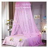 Lit à baldaquin en moustiquaire pour chambre d'enfants crypté en fil hexagonal dôme de bande dessinée en tissu de dentelle rideaux de lit auvent (lit de 1 à 1,5 m) (taille: 1,5 m / 5 pieds, couleur: