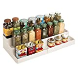 mDesign étagère à épices Design pour la Cuisine – présentoir à épices Extensible en Plastique pour Plan de Travail & Armoire de Cuisine – Rangement Cuisine Pratique à 3 Niveaux – Beige