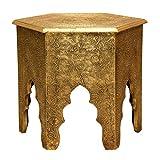 Casa Moro | Table d'appoint orientale marocaine en bois avec revêtement en laiton fait main | MA77-345