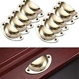 Lot de 10 Vintage Poignée de Coquille 82mm Tiroir, Métall Bouton de Porte de Placard Décoration pour Armoire Meuble (Jaune)