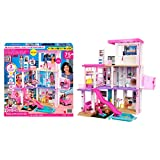 Barbie Mobilier Dreamhouse, Maison de Rêve pour poupées sur 3 niveaux, 109 cm de haut, lumières et sons, plus de 75 accessoires, jouet pour enfant, GRG93