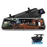 Jansite 10' Dashcam Voiture Rétroviseur Écran Tactile, Arrière et Avant Full HD 1080P Streaming Media DVR 170 ° Grand Angle de Vision Nocturne avec 10 Mètres de Câble