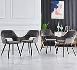 JYMTOM Chaise de salle à manger avec dos et assise en velours capitonné et pieds en métal