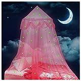 Lamdgbway Lit à Baldaquin Pour Les Filles Brillent Dans Les étoiles Sombres Et La Lune Princesse Moustiquaire Berceau Suspendu Tente Cadeau Pour Les Enfants Anniversaire Chambre Décor Rose