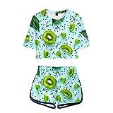 Surwin T-Shirts et Shorts Vêtements Costume, 3D Impression Crop Top Ensembles Sportswear Top d'Eté Deux pièces pour Les Filles et Les Femmes Ensemble de Sport (XL,Kiwi Vert)