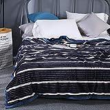 YAN QINGS SHOP Couverture Flanelle rayé, Double Couche Couverture floue Thicken Quilt, Super Soft couvertures Chaudes for l'hiver (Couleur : Bleu, Taille : California King)