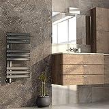 Mert ASK Radiateur de panneau chauffant droit électrique ou eau chaude 1/2' pour salle de bain 800 x 400 mm Raccordement 50 mm Noir Porte-serviettes pour montage mural