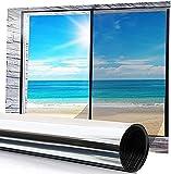 Film Miroir sans Tain,YQHbe Film UV Fenetre Anti Chaleur Et Anti Regard,Film Miroir sans Tain pour Vitrage Et FenêTre,Cache Vitre Fenetre,Film Occultant FenêTre Anti-UV, 44.5 x 200 cm