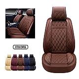 OASIS AUTO Housses de siège de voiture en cuir synthétique, housses de coussin pour voiture, SUV, pick-up, camion, ajustement universel pour intérieur de voiture (marron, OS-009 paire)