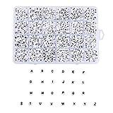 Ornaland 1750 Pièces Perles D'alphabet Acrylique Blanc Plat Rond Lettre A ~ Z Perles pour La Fabrication de Bijoux Bracelets Colliers Porte-Clés