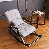 Fauteuil à bascule de salon, fauteuil inclinable, vieux canapé de sieste, lit allongé, balcon, personnes âgées, fauteuil à bascule en bois, fauteuil ergonomique amovible, gris peu profond Good Life