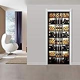 LJIEI Sticker Porte Cave À Vin Rétro-Éclairé 3D Autocollants De Porte Stéréo Stickers Muraux De Décoration De La Maison Autocollant Imperméable À l'eau (90X200)