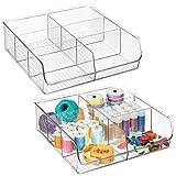 mDesign boîte de rangement pour les articles de couture ou de tricot (lot de 2) – boîte en plastique pratique à 6 compartiments – caisse de rangement pour tiroir, armoire et placard – transparent
