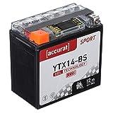 Accurat Batterie de moto YTX14-BS 12Ah 200A 12V Technologie gel + Écran LCD Batterie de démarrage Performante Robuste Résistante aux vibrations Zéro maintenance