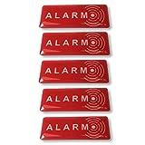 Decooo.be Lot de 5 Autocollants Alarm Dissuasif pour Les Voleurs - Ultra résistant aux griffures, Pluie, Gel, UV. - 19 mm x 49 mm - Epaisseur 2 mm