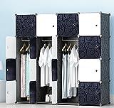 PREMAG Armoire Portable DIY, Penderie Portes, Tige Suspendue, Construction Solide Vêtements, Chaussures, Accessoires, Conception de Motif de Frisé, Noir Blanc (16-Cube)