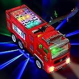Xruison Camion de Pompier Voiture avec 4D LED Lumières Sons, Electrique Voiture de Pompier VéHicules Jouet de Camion Jeu, Educatif Voiture Jouet pour Enfant Garçons Filles 3 4 5 6 Ans