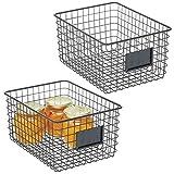mDesign panier en métal (lot de 2) – panier de rangement pour la cuisine et le garde-manger – panier rangement compact et polyvalent – noir