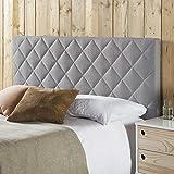 marcKonfort Tête de lit tapissée Venecia 160x60 cm en Couleur Gris, quaincaillerie Incluse.