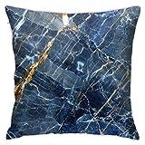 Housse de Coussin de Coton Lin Durable Coussin Taie d'oreiller Marbre Bleu Marine pour Canapes Moderne Chambre Bureau Voiture,45x45CM