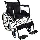 Mobiclinic, Alcazaba, Fauteuil roulant pliable et transportable pour personnes handicapées et personnes âgées, avec repose pieds, orthopédique, léger, noir