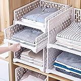 HOMIXES 2 Pcs Armoire Empilable Tiroir Unités Organisateur Vêtements Placard Rangement Boîtes Étagères Diviseur en Plastique Conseil Cube Jouet Collations Conteneurs Blanc, Haut Type/S