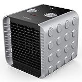 HeiPard Mini Radiateur soufflant Céramique - Comfort Compact Chauffage d'appoint, Ventilation Chaud Froid 2 Réglages de Température - 1500W Silencieux Argent
