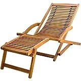 lyrlody- Chaise longue pliable - Chaise longue de jardin avec repose-pieds amovible pour balcon, terrasse et jardin - Bois d'acacia massif - 150 x 70 x 69 cm