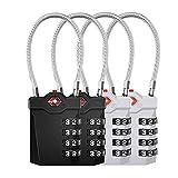 ZHEGE Cadenas à bagages approuvé par TSA, serrure de valise à combinaison à 4 chiffres avec alarme d'ouverture, cadenas de câble de casier de gymnastique (4 Pièces, Noir/Argent)