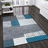VIMODA Designer Tapis Poils Courts en Turquoise Bleu, Gris et Blanc à Carreaux Aspect Facile d'entretien, Dimensions: 120x 170cm