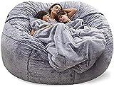 WHHK Grand pouf géant en fourrure moelleuse sans rembourrage pour canapé, canapé futon inclinable sans remplissage Couleur : gris foncé 180 cm
