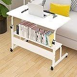 DNNAL Table de Chevet sur lit, Table de lit Mobile de Levage Table de Chevet de dortoir Simple Table de Salle à Manger Mobile avec Table de Rangement,Blanc
