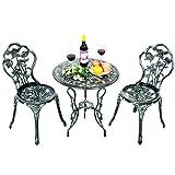 Costway Ensemble Table de Bistrot Table et 2 Chaises pour Jardin en Fonte Aluminium Forme de Rose Style Antique Résistant aux Intempéries pour Terrasse/Cour Intérieure/Jardin (Vert)