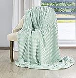 Eurofirany Plaid douillet en microfibre - Couleur menthe - Gris - Jeté de canapé (Ally Menthe 200 x 220 cm)